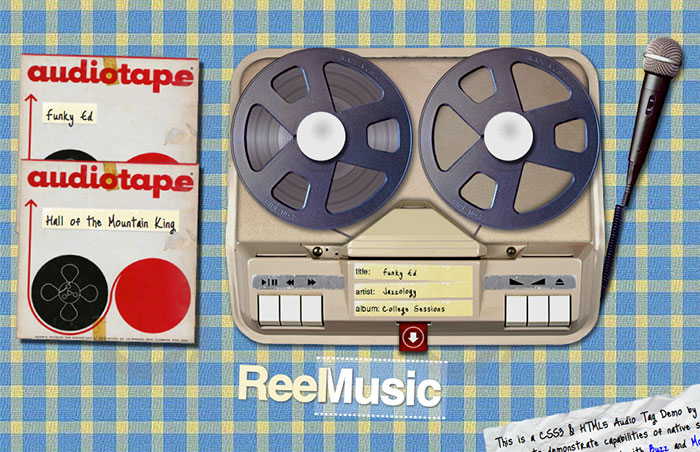 Screenshot of the ReelMusic reel-to-reel machine in action