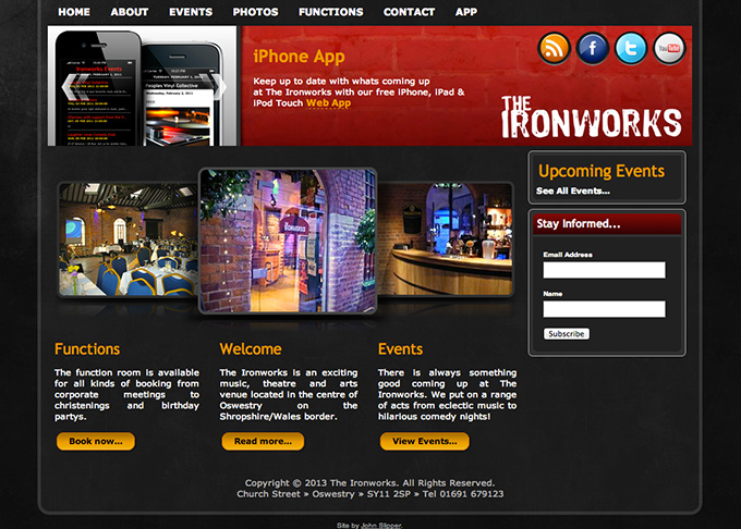 Picture showing The Ironworks website home page