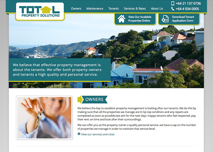 Picture showing the Total Property Solutions website