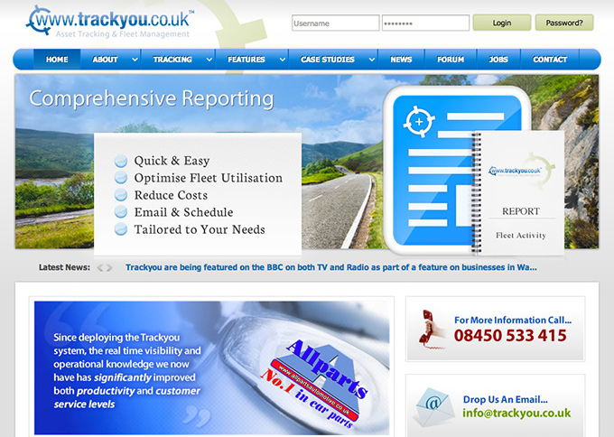 Picture showing the Trackyou website