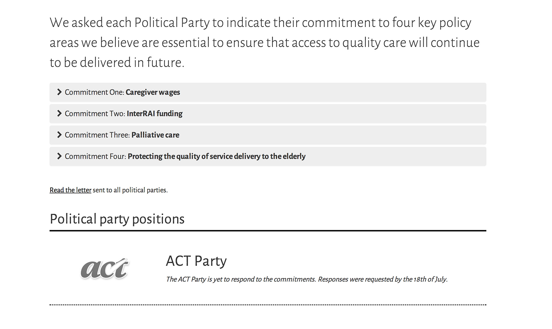 Political party responses page